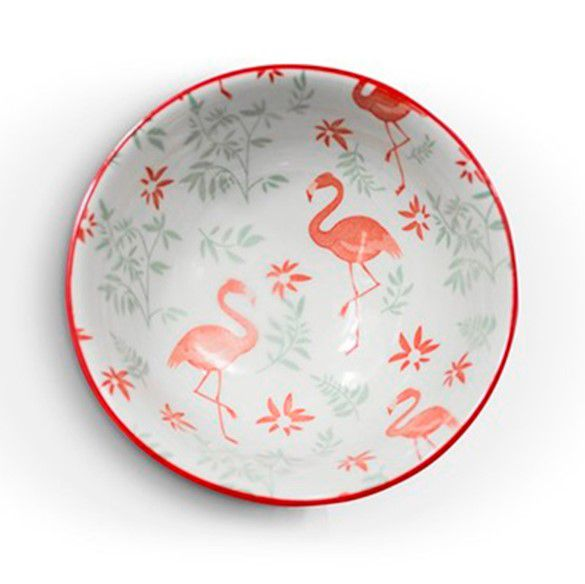 Tigela Bowl Cumbuca em Cerâmica Colorida Flamingo com Folhas Verdes