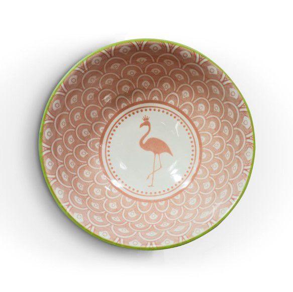 Tigela Bowl Cumbuca em Cerâmica Colorida Flamingo Rosa