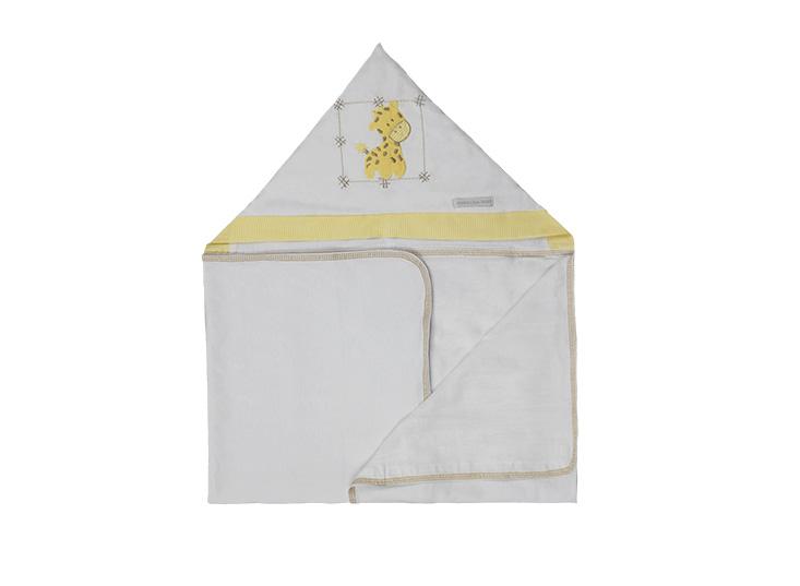 Toalha de Banho Infantil de Malha 100% algodão com Capuz Girafa enxoval bebê