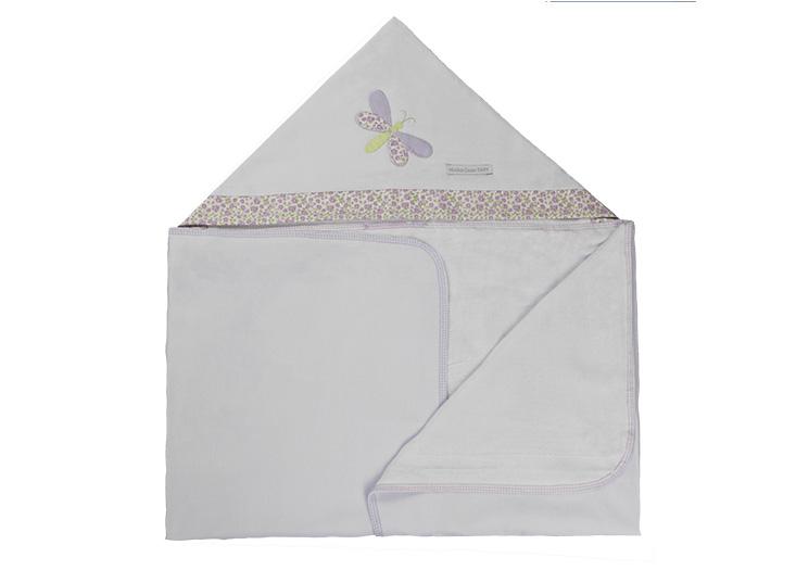 Toalha de Banho Infantil de Malha 100% algodão com Capuz - Libélula Lilás Enxoval Menina