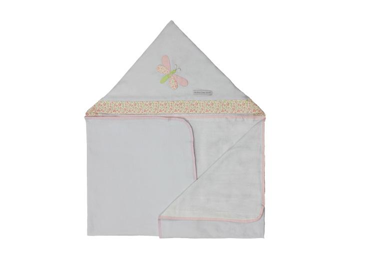 Toalha de Banho Infantil de Malha 100% Algodão com Capuz - Libélula Rosa Enxoval Menina