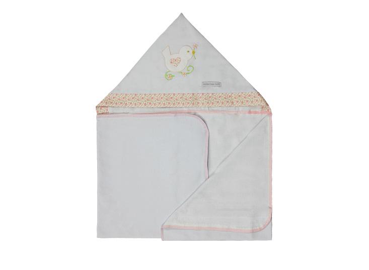Toalha de Banho Infantil de Malha 100% algodão com Capuz - Passarinho Enxoval Menina