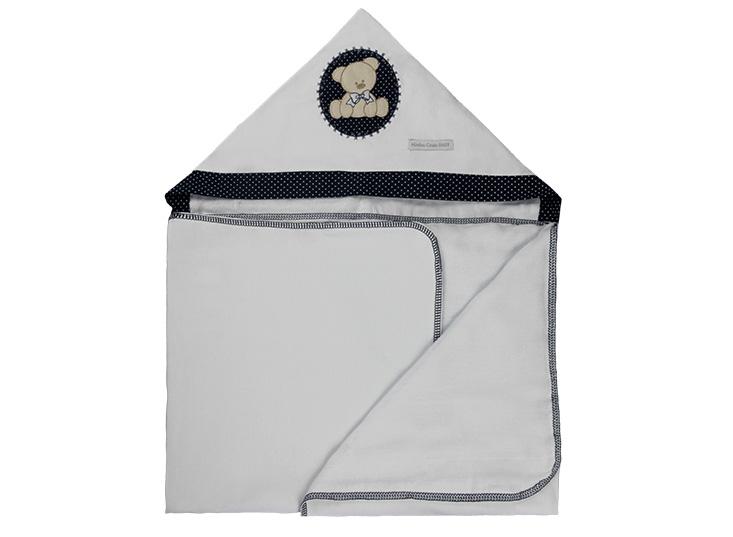 Toalha de Banho Infantil de Malha 100% algodão com Capuz - Urso Marinho Enxoval Menino