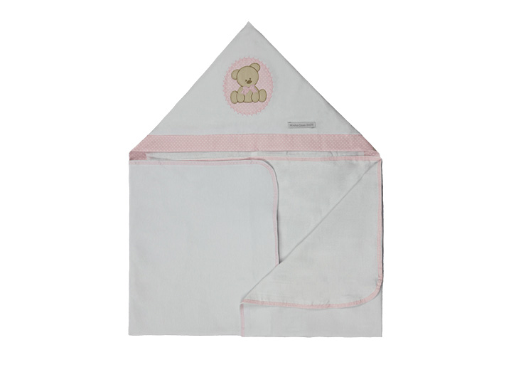 Toalha de Banho Infantil de Malha 100% algodão com Capuz - Urso Rosa Enxoval Menina