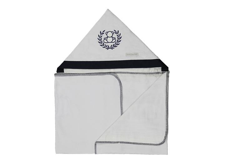 Toalha de Banho Infantil de Malha100% algodão com Capuz - Urso Trigo Marinho enxoval Menino