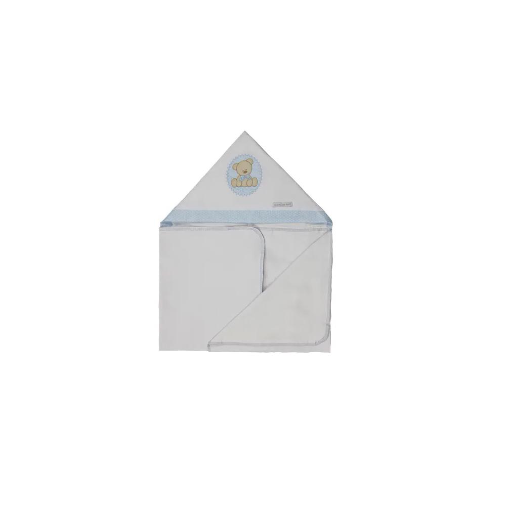 Toalha de Banho Infantil de Malha 100% algodão com Capuz - Urso Azul Enxoval Menino