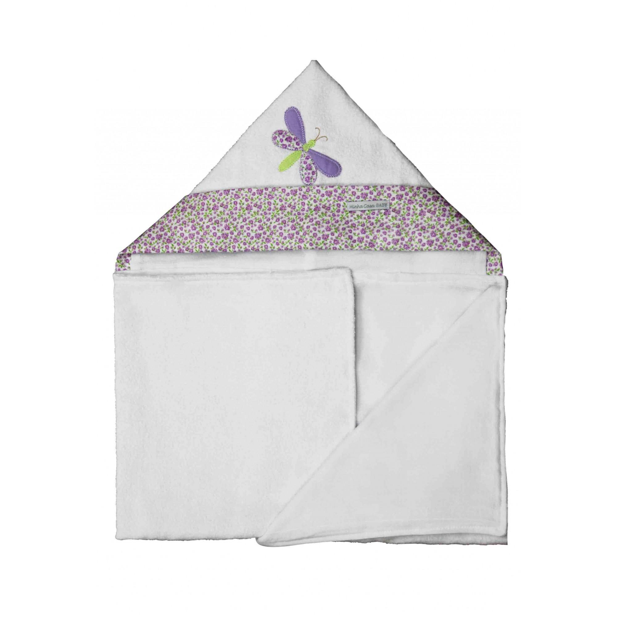 Toalha de Banho Infantil Aveludada 100% Algodão com Capuz - Libélula Lilás - Enxoval Menina