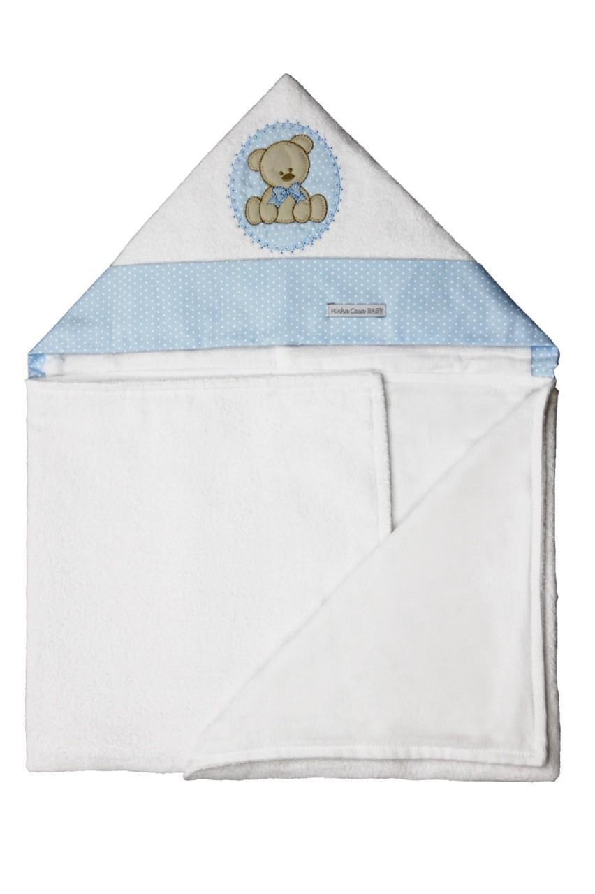 Toalha de Banho Infantil Aveludada 100% Algodão com Capuz - Urso Azul Enxoval Menino