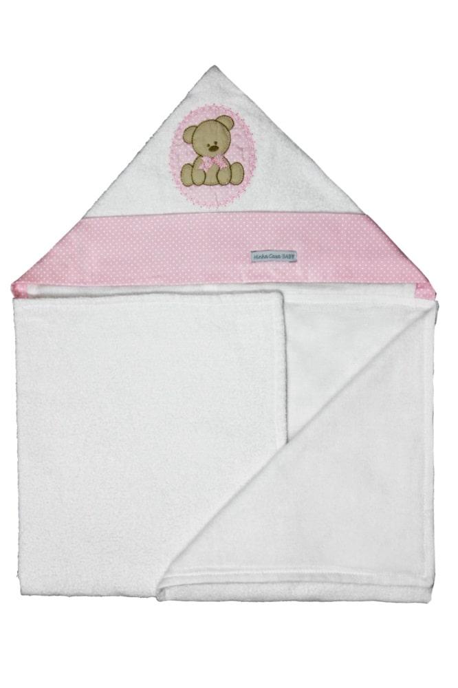 Toalha de Banho Infantil Aveludada 100% Algodão com Capuz - Urso Rosa Enxoval Menina