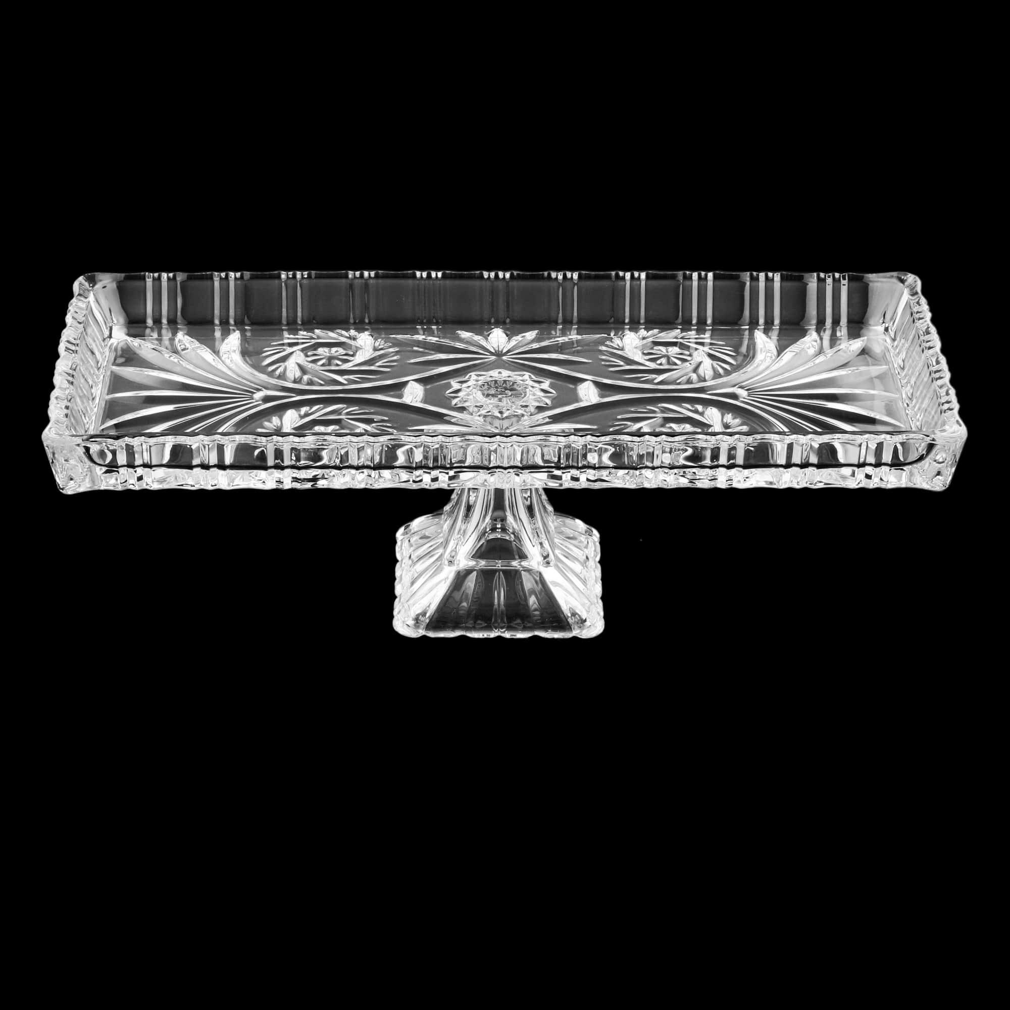 Travessa com pé de Cristal de Chumbo Dragon 34 x 15 x 10,5 cm