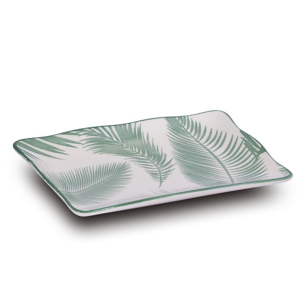 Travessa Em Cerâmica Folhas Verdes - 20X12X2Cm