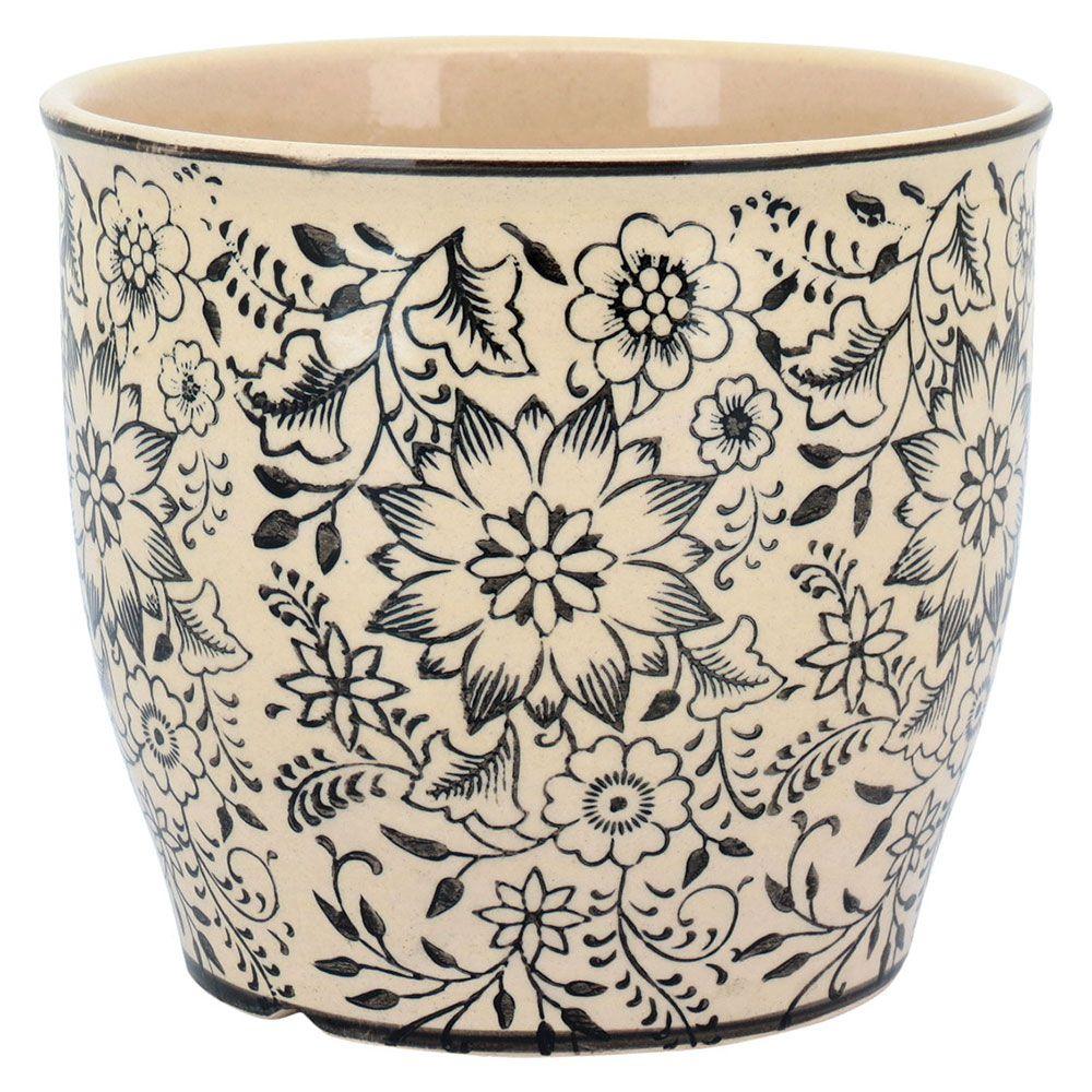 Vaso Cachepot em Cerâmica Creme e Preto Decoração de Ambientes