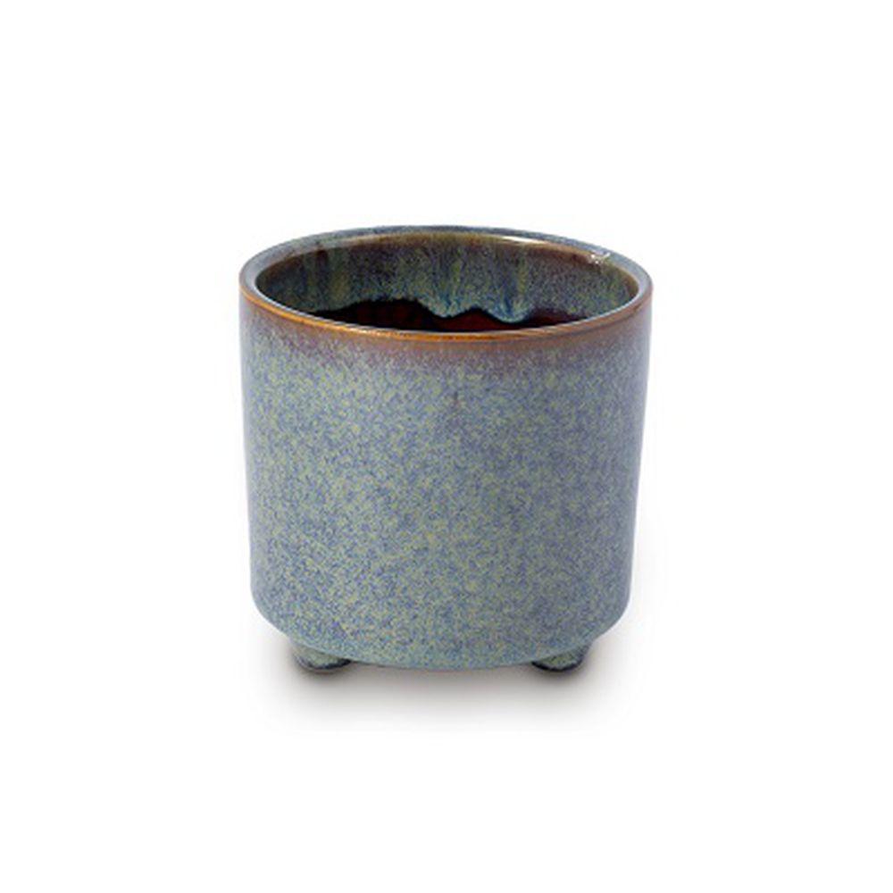 Vaso Cachepot Para Flores Em Cerâmica Azul 10,5 X 10.5 Cm Decoração