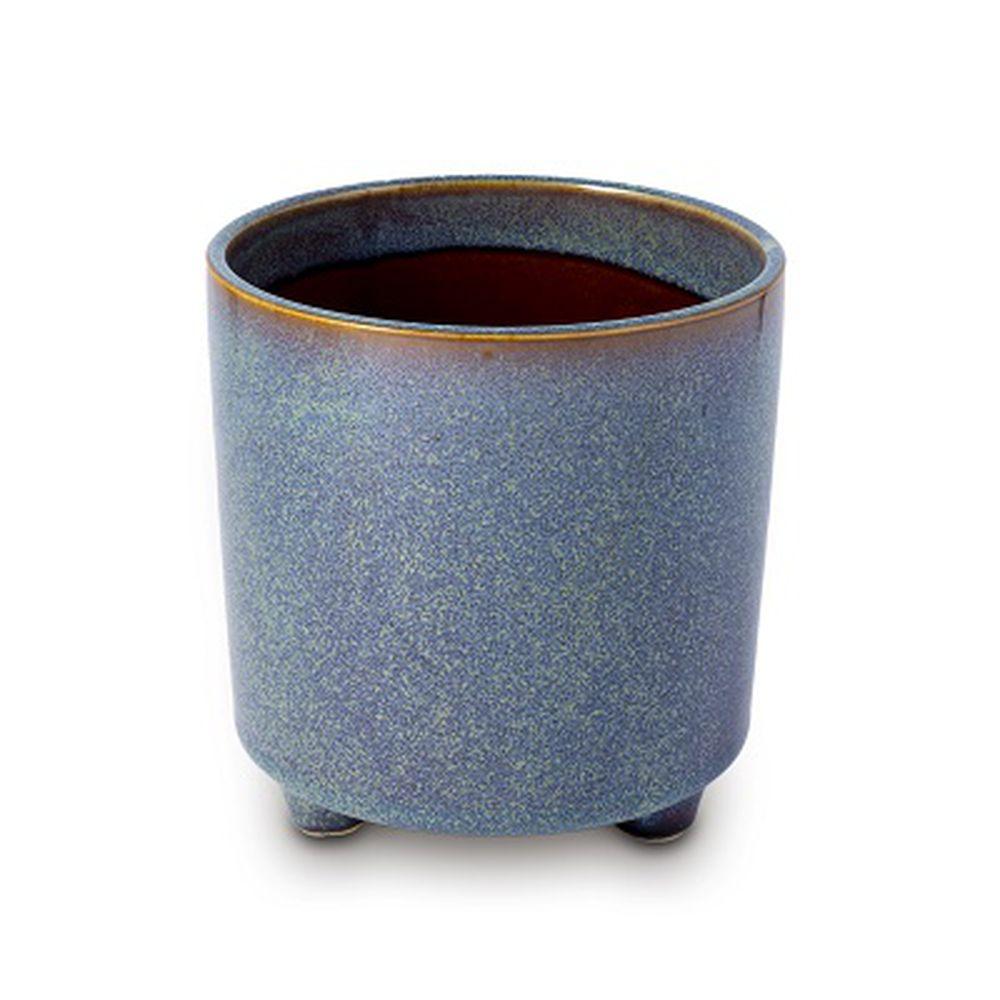 Vaso Cachepot Para Flores Em Cerâmica Azul 13,5 X 14 Cm Decoração