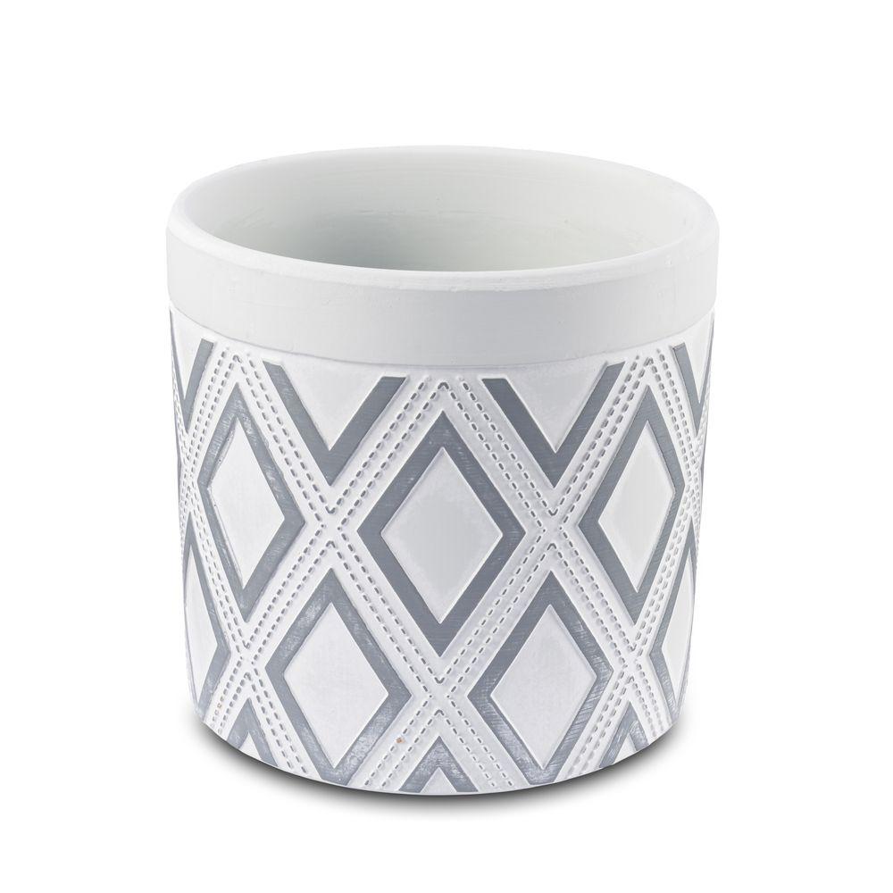 Vaso Cachepot Para Flores Em Cerâmica Cinza triângulo  13,5 X 13 Cm Decoração