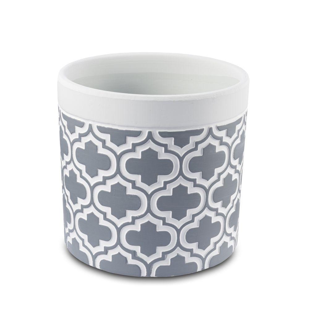 Vaso Cachepot Para Flores Em Cerâmica Cinza 13,5 X 13 Cm Decoração