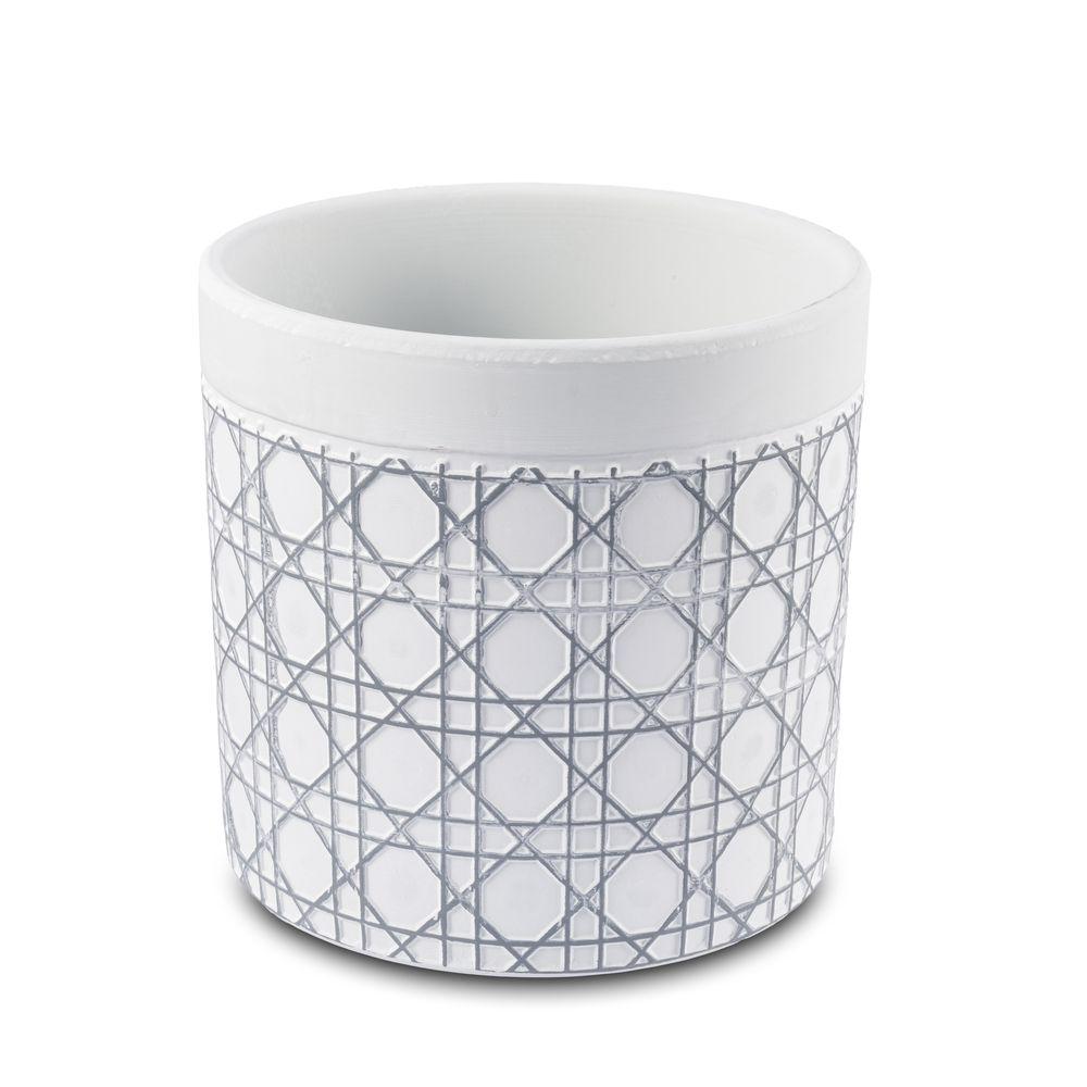 Vaso Cachepot Para Flores Em Cerâmica Cinza listras  13,5 X 13 Cm Decoração