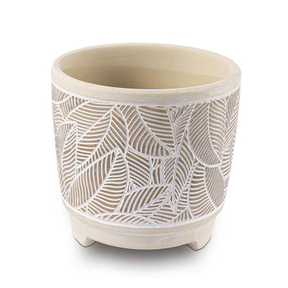 Vaso Cachepot Para Flores Em Cerâmica Folhas - Creme 13,5 X 13 Cm Decoração