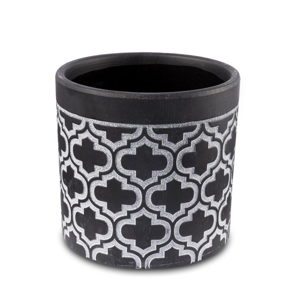 Vaso Cachepot Para Flores Em Cerâmica Preto e Branco 13,5 X 13 Cm Decoração