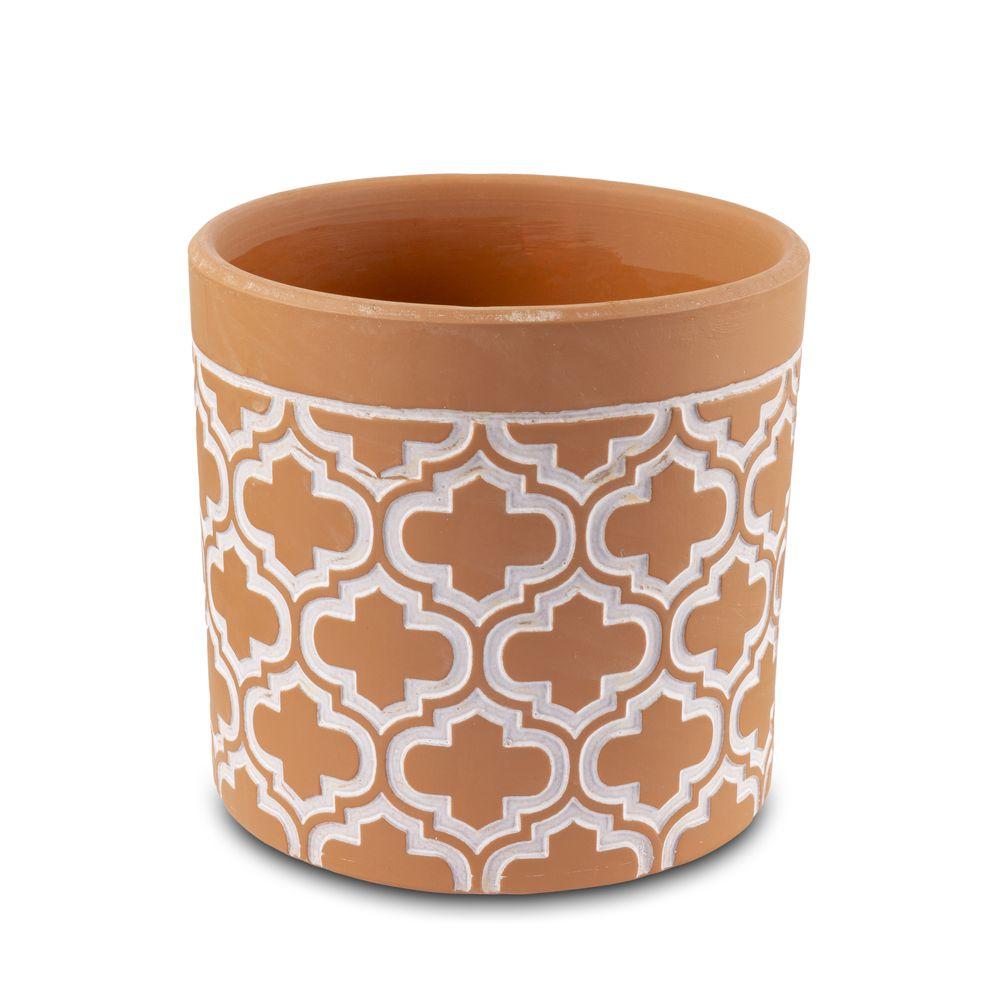 Vaso Cachepot Para Flores Em Cerâmica Terracota 13,5 X 13 Cm Decoração