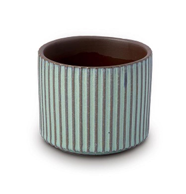 Vaso Cachepot Para Flores Em Cerâmica Verde 11 X 9 Cm Decoração