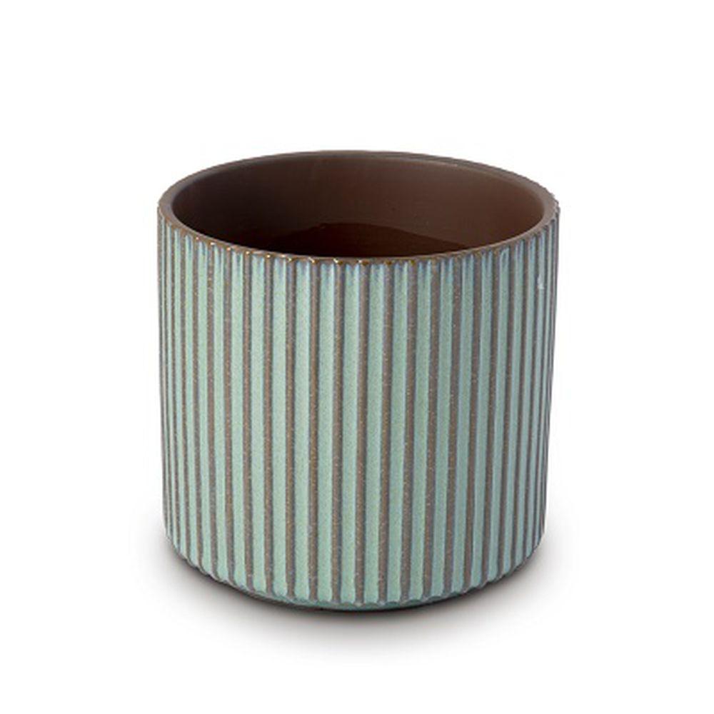 Vaso Cachepot Para Flores Em Cerâmica Verde 13 X 13 Cm Decoração
