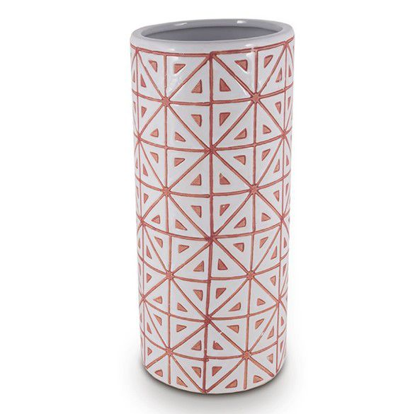 Vaso Cerâmica Branco com Vermelho Triângulos