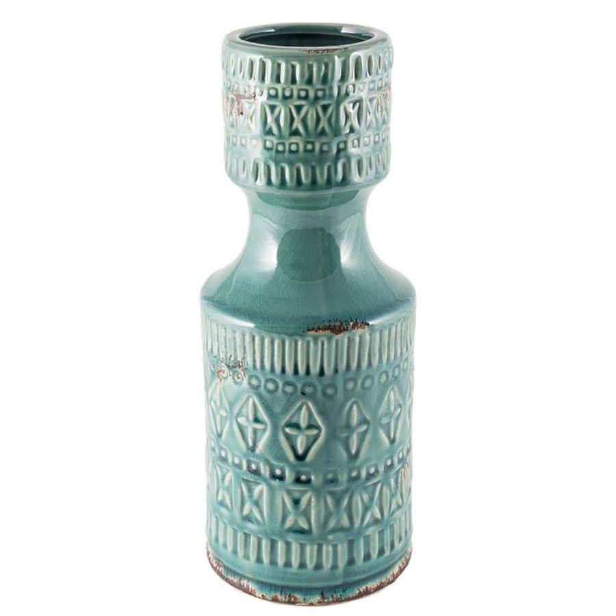 Vaso Cerâmica Verde Comprido