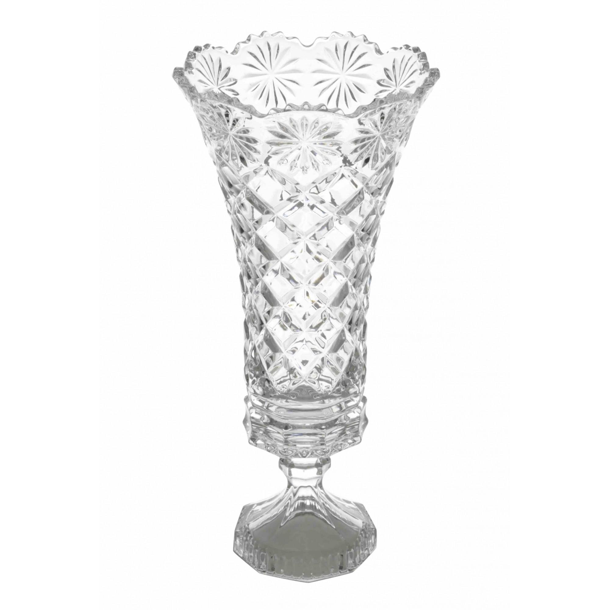 Vaso com pé de Cristal de Chumbo Diamond Star 16 x 33,5 cm