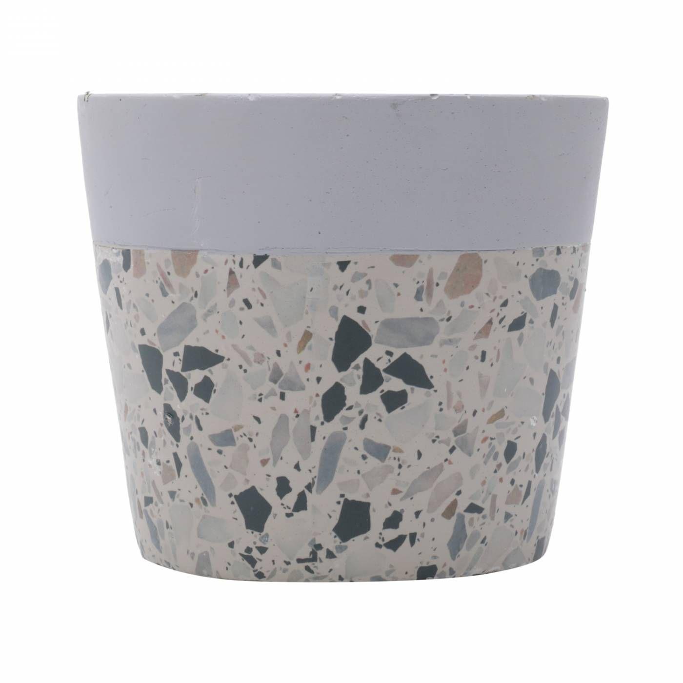 Vaso de Concreto Granilite Fossil Stardust Cinza e Bege Suculentas