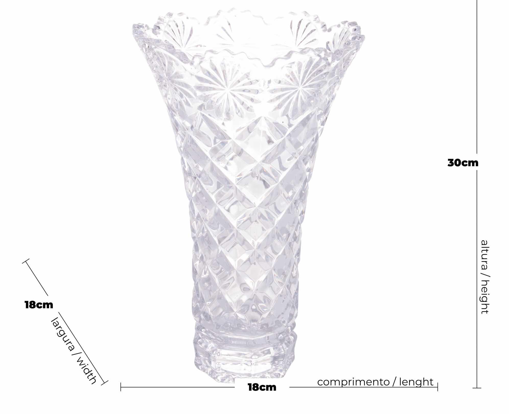 Vaso de Cristal Diamond Star 18 x 30 cm