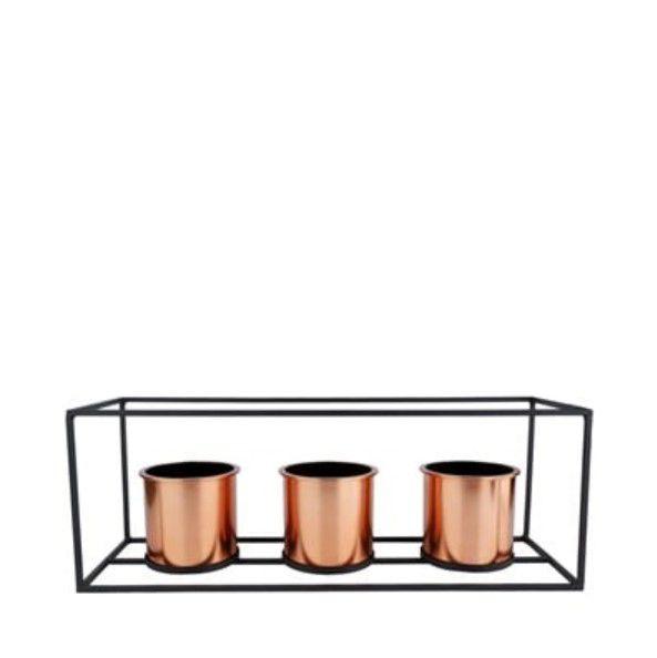 Conjunto 3 Vasos Metal Cobre Retangular Decoração Suculentas
