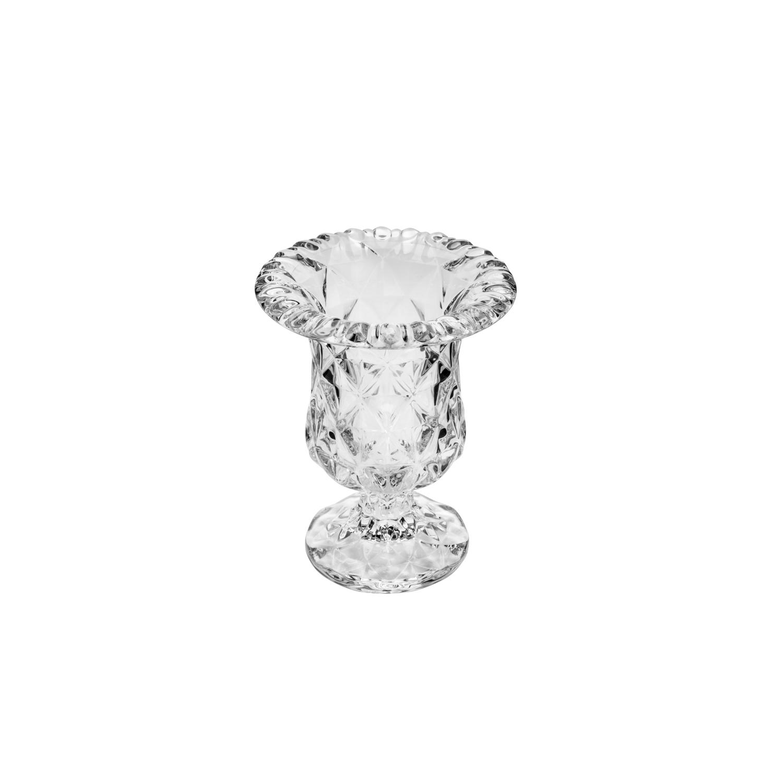 Vaso de vidro com pé / base  Diamond 14,5x11,5cm