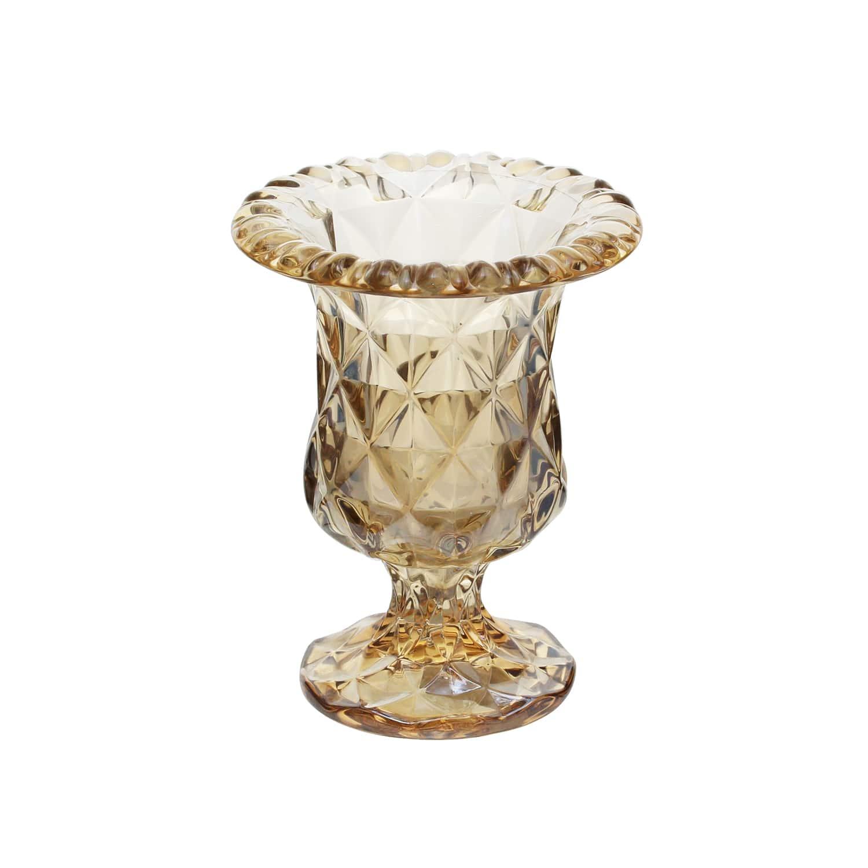 Vaso de Vidro Diamond Âmbar Metalizado 15 x 24 cm
