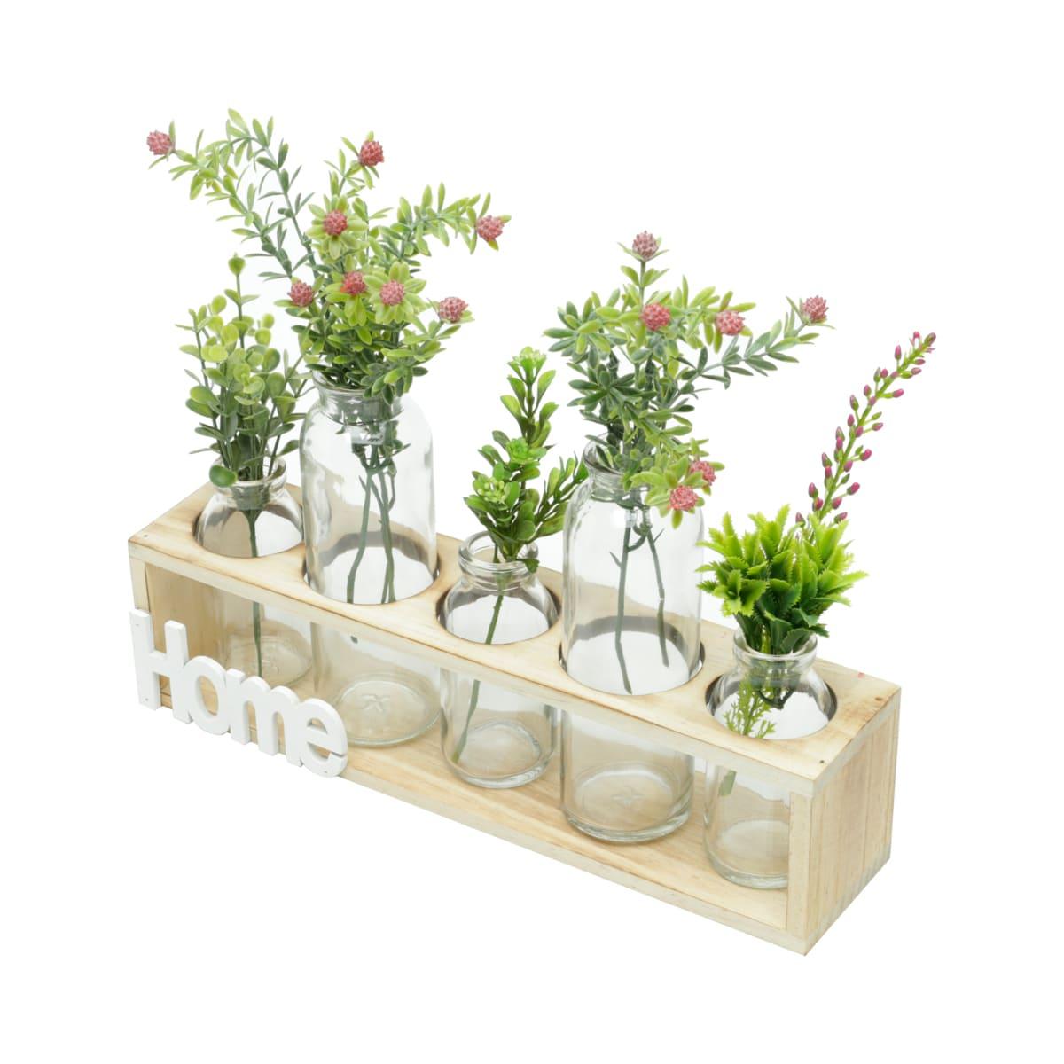 Vaso Suporte Madeira com 5 Garrafas Vidro para Plantas e Flores Decoração de Casa Moderna