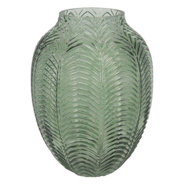 Vaso Decorativo De Vidro Leaf Verde 20 cm
