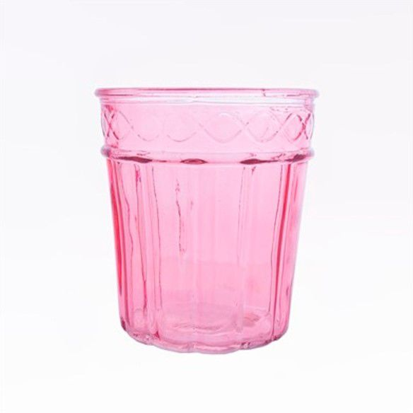 Vaso Decorativo De Vidro Rosa 13,5x15,5cm Ambientes Festas