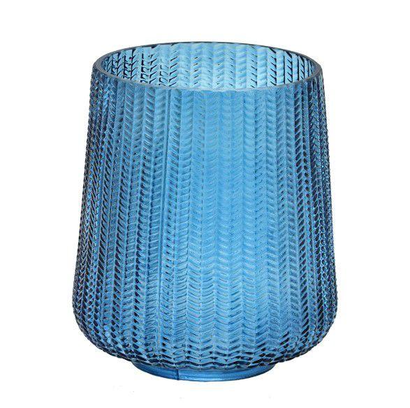Vaso Decorativo em Vidro Azul Escamas 16 x 19,5 cm
