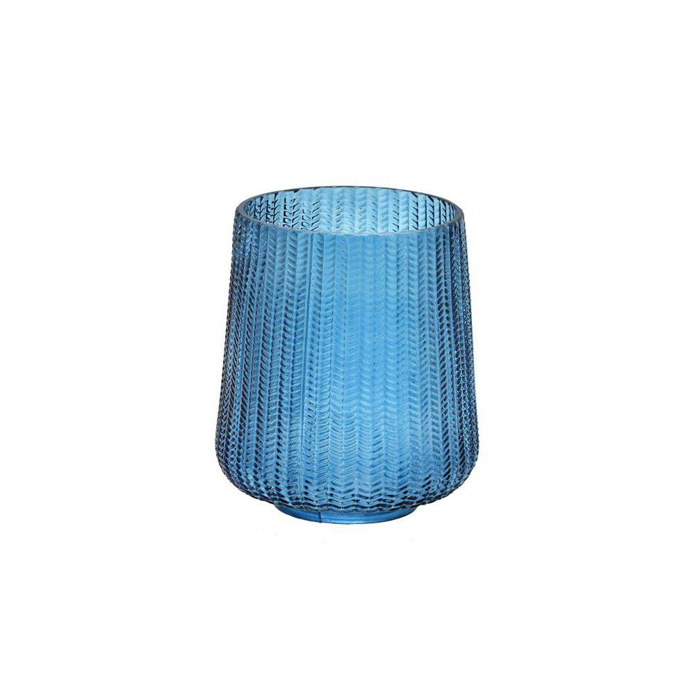Vaso Decorativo em Vidro Azul Escamas 19,5 x 22,5cm