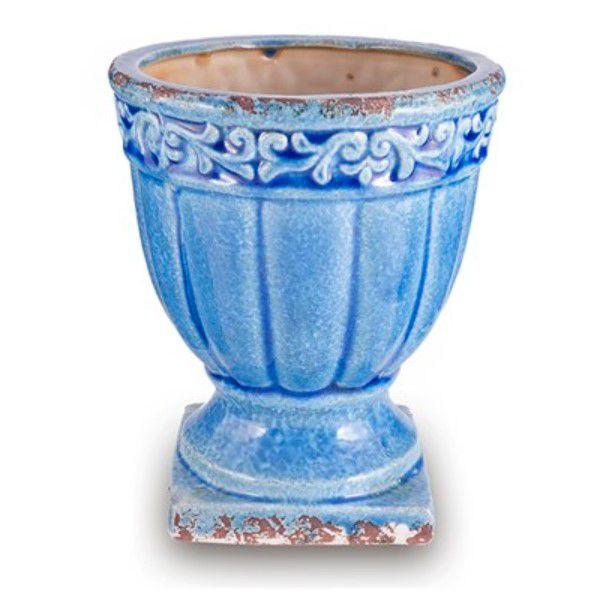 Vaso em Cerâmica Azul com Base Quadrada 16x16x18,5cm