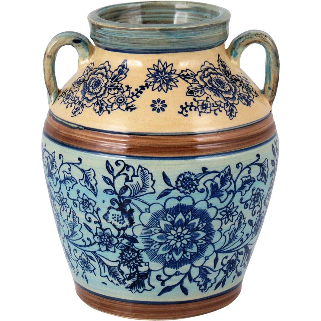 Vaso em Cerâmica Estampado em Azul e Bege Grande