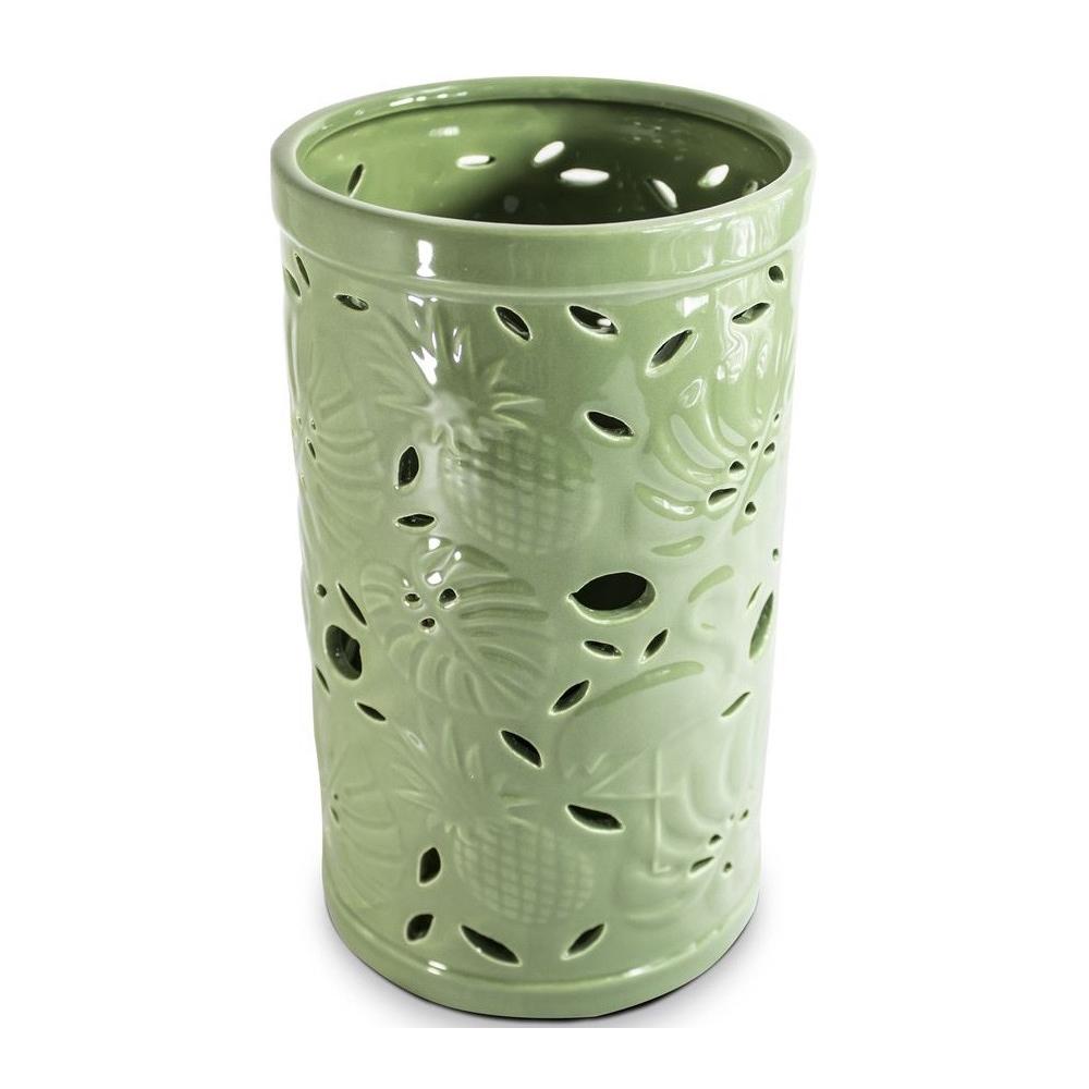 Vaso em Cerâmica Folhas Verdes 13,5 x 31,5 cm