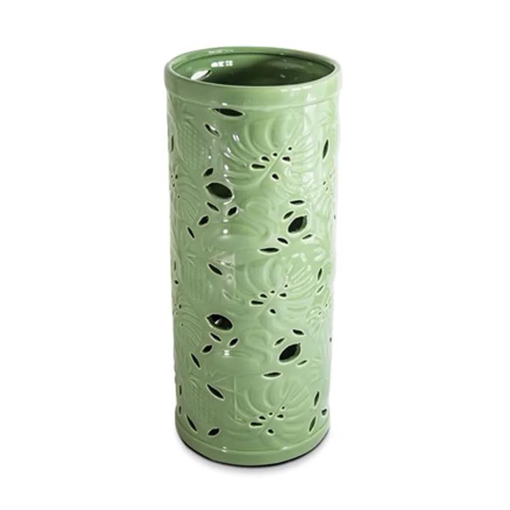 Vaso em Cerâmica Folhas Verdes 13,5x23cm