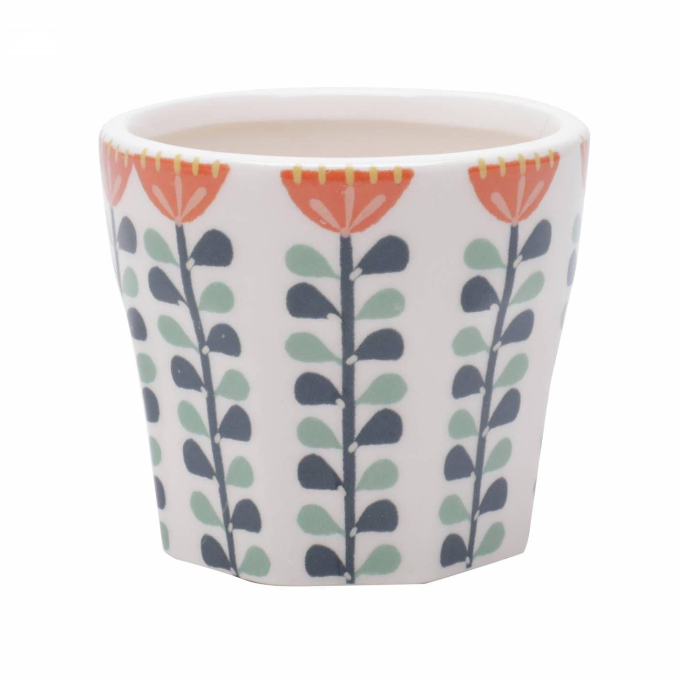 Vaso em Cerâmica Scandinavian Flowers Branco Pequeno 8,5x8,5x7,5 cm
