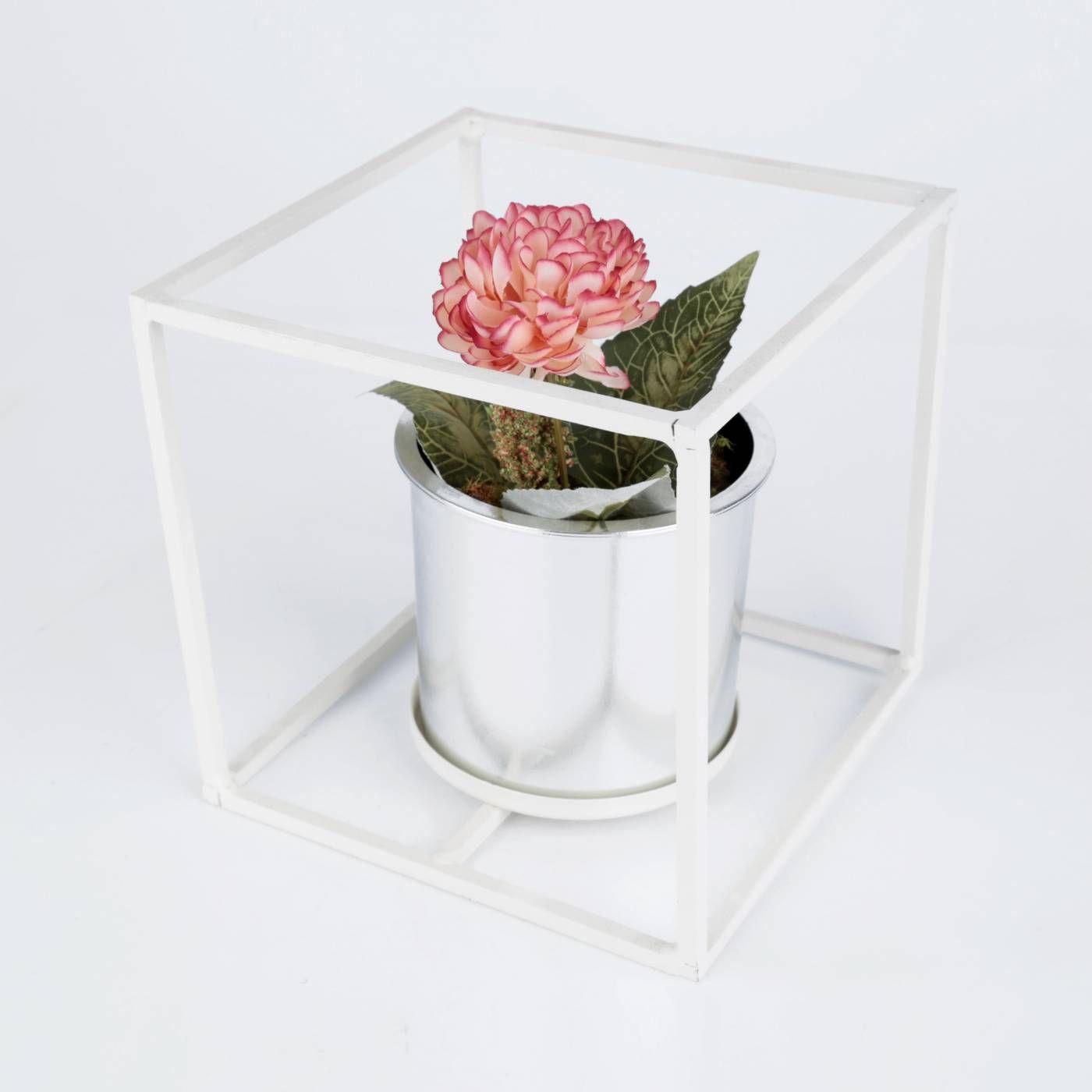 Vaso em Metal e Plástico Prata com Suporte para Suculentas, Flores e Plantas