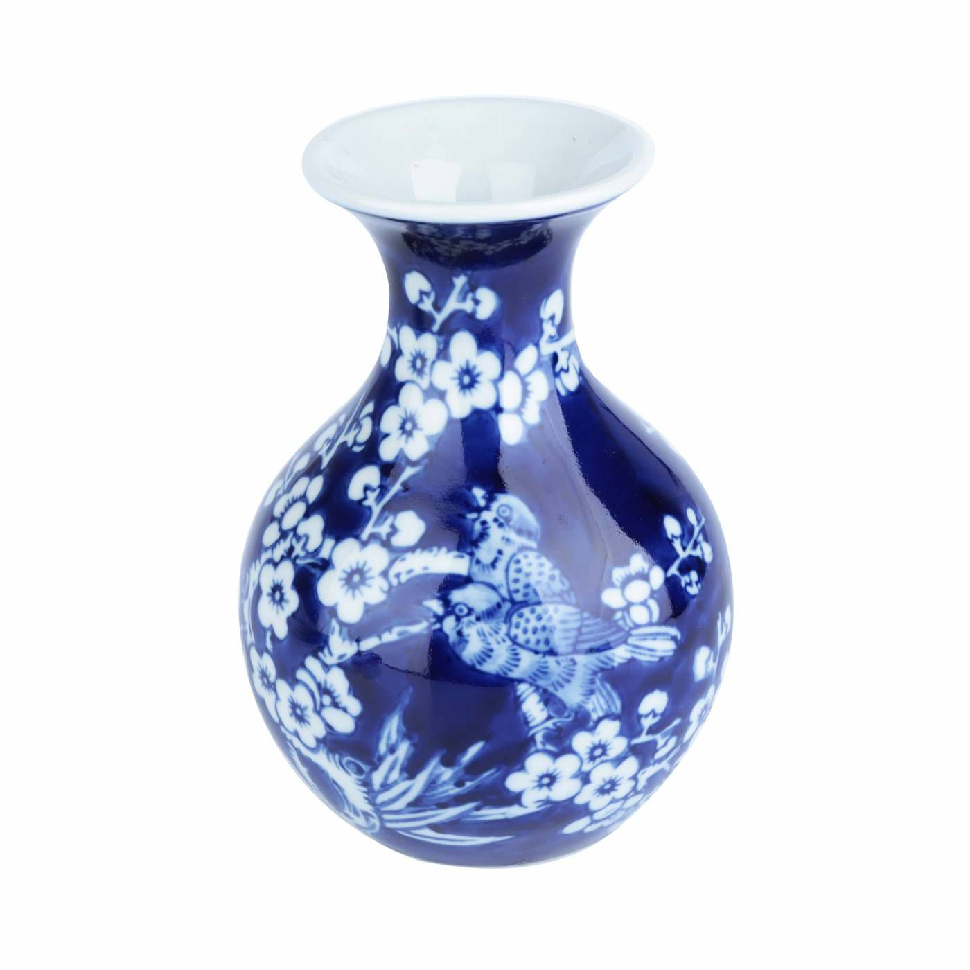 Vaso em Porcelana Azul Long Neck Cherry Flowers