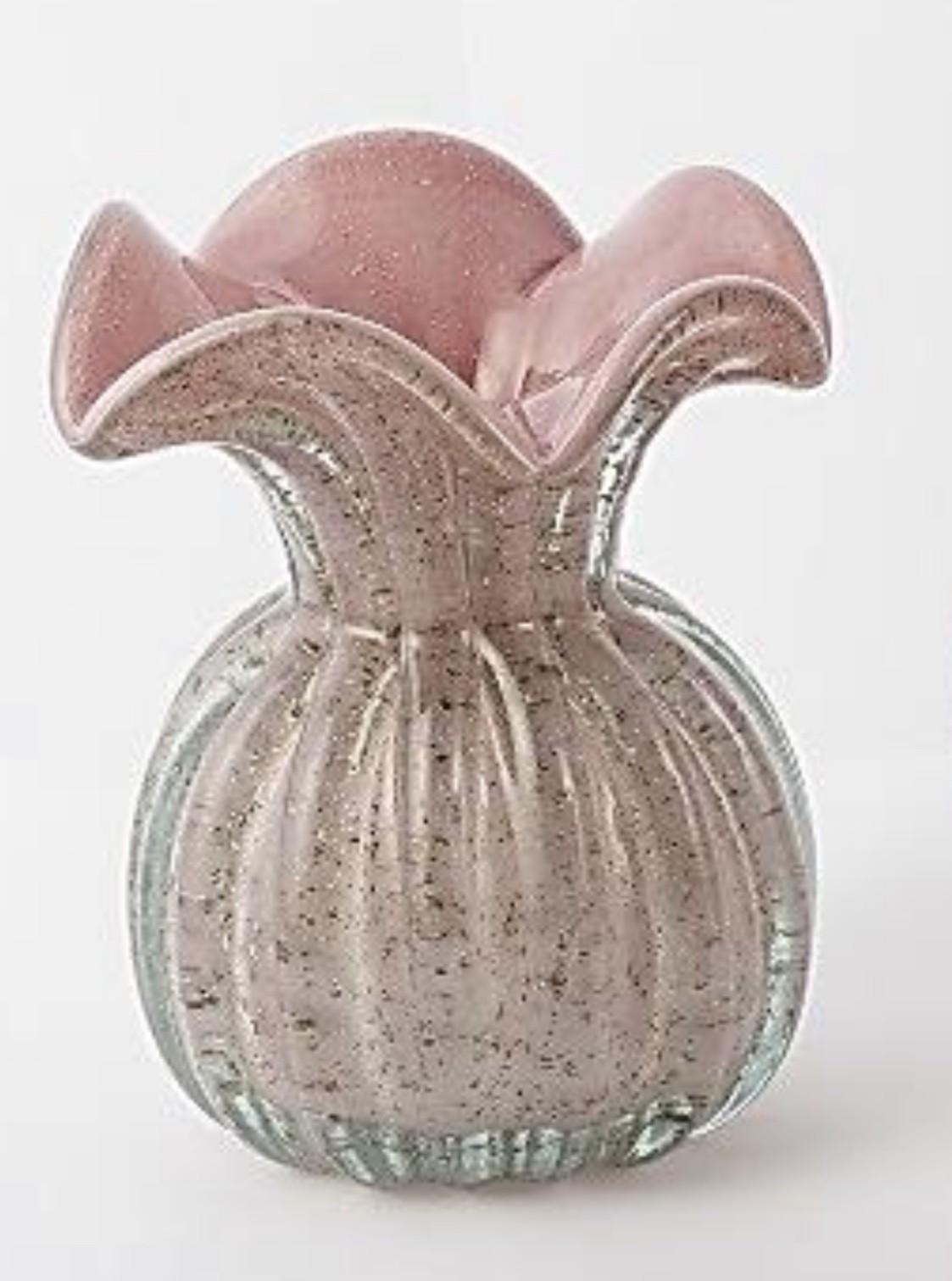 Vaso Murano Trouxinha Rose Decoração Ambientes 11 Cm X 9 Cm