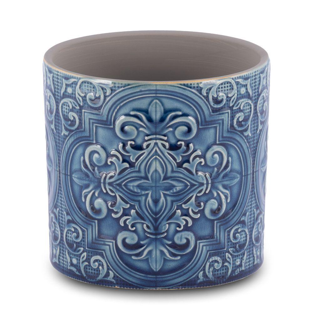 Vaso Para Flores Em Cerâmica Azul 13,5 X 13 Cm Decoração