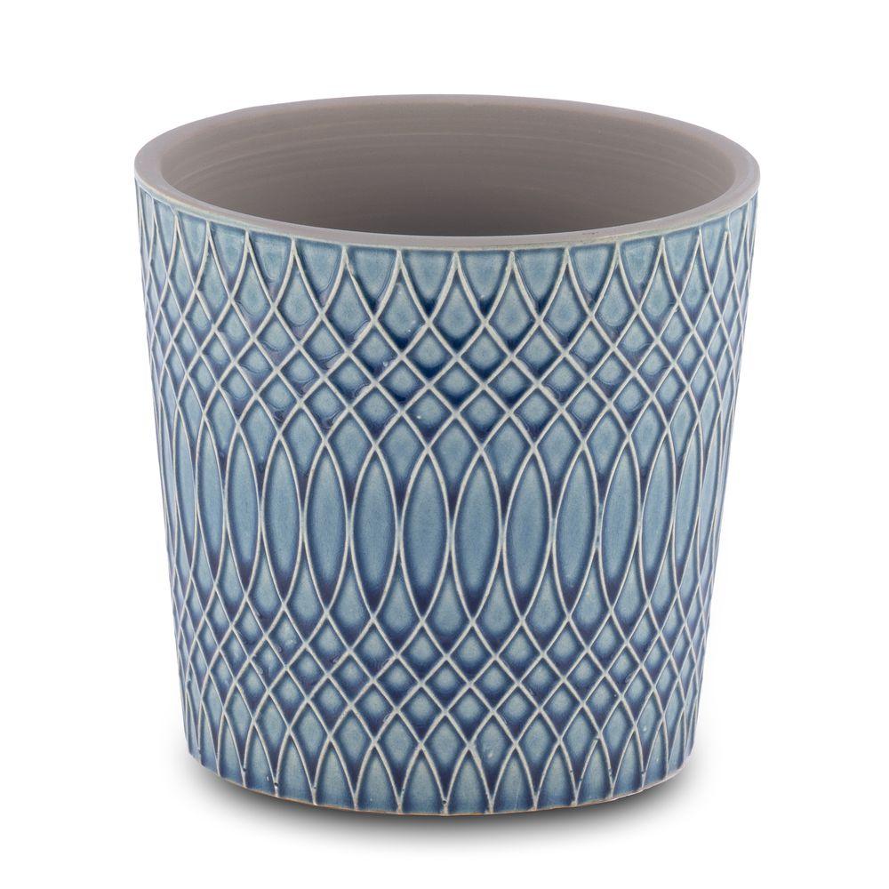 Vaso para Flores Suculentas e Plantas Cerâmica Azul Decoração