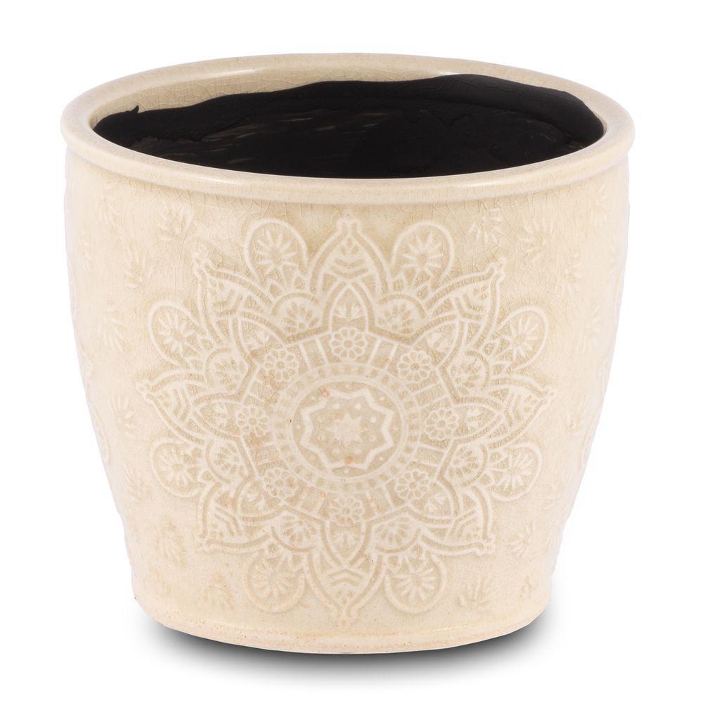 Vaso Para Flores Suculentas e Plantas Em Cerâmica Creme Decoração Casa
